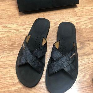 Coach Janine Embs Pvc/calf Sandals, Black Size 8M